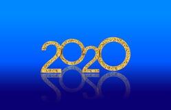 Números dourados de brilho luxuosos do ano novo feliz 2020 isolados no fundo lustroso azul ilustração stock