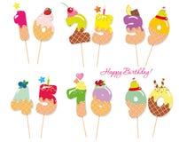 Números dulces festivos para el diseño del cumpleaños Paja de Coctail Caracteres decorativos divertidos Vector eps10 Foto de archivo libre de regalías