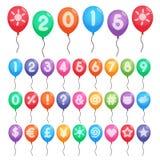 Números e balões dos símbolos Foto de Stock