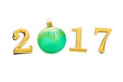 Números 2017 e brinquedo do Natal Imagens de Stock