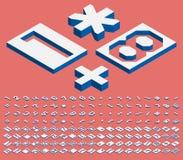 Números e marcas de pontuação isométricos Fotografia de Stock Royalty Free