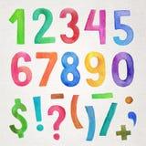 Números e símbolos escritos à mão da aquarela Foto de Stock