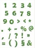 Números e sinais verdes no fundo branco Fotografia de Stock Royalty Free