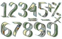 Números, el por ciento y muestras matemáticas de dólares libre illustration