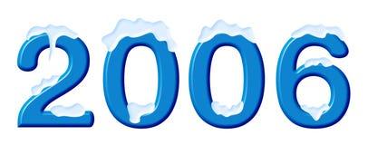 Números em uma neve, no branco Imagens de Stock