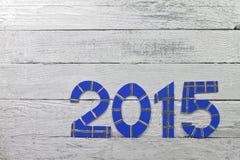 Números 2015 em uma ripa pintada prata Fotografia de Stock