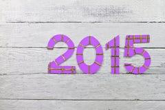 Números 2015 em uma ripa pintada prata Fotos de Stock