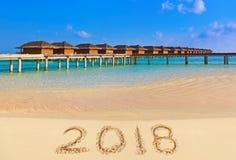 Números 2018 en la playa Imagen de archivo