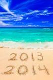 Números 2014 en la playa Foto de archivo libre de regalías