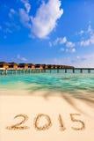 Números 2015 en la playa Imágenes de archivo libres de regalías