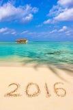 Números 2016 en la playa Imágenes de archivo libres de regalías