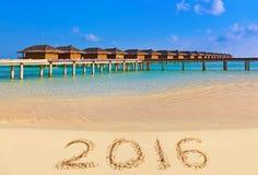 Números 2016 en la playa Imagen de archivo libre de regalías