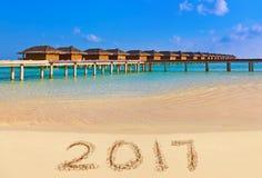 Números 2017 en la playa Imagenes de archivo