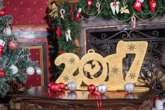Números 2017 en la tabla Foto de archivo libre de regalías