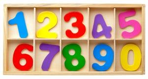 Números en una caja. Aislado. Foto de archivo libre de regalías
