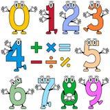 Números engraçados dos desenhos animados ilustração stock