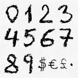 Números escritos mão do carvão vegetal Ilustração do Vetor