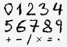 Números escritos mão do carvão vegetal do vetor Ilustração do Vetor