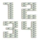 Números feitos de blocos do dólar. Fotos de Stock