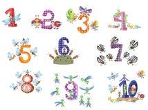 Números fijados con los insectos Fotografía de archivo