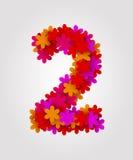 Números florais Flores coloridas Número 2 Fotos de Stock Royalty Free