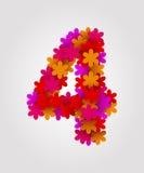 Números florais Flores coloridas Número 4 Imagens de Stock Royalty Free