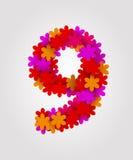 Números florais Flores coloridas Número 9 Fotografia de Stock Royalty Free