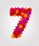 Números florais Flores coloridas Número 7 Fotos de Stock Royalty Free