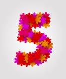 Números florais Flores coloridas Número 5 Fotografia de Stock