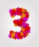Números florais Flores coloridas Numere cadeiras de praia 3 Imagem de Stock Royalty Free
