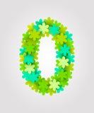 Números florais Flores verdes Ilustração do vetor Número 0 Imagens de Stock