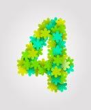 Números florais Flores verdes Ilustração do vetor Número 4 Foto de Stock Royalty Free