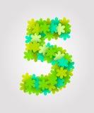 Números florais Flores verdes Ilustração do vetor Número 5 Imagens de Stock
