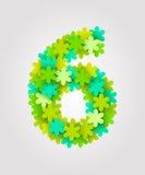 Números florais Flores verdes Ilustração do vetor Número 6 Imagem de Stock