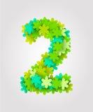 Números florais Flores verdes Ilustração do vetor Número 2 Fotografia de Stock Royalty Free