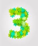 Números florais Flores verdes Ilustração do vetor Numere cadeiras de praia 3 Imagens de Stock Royalty Free
