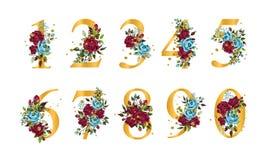 N?meros florales de oro con las hojas de las rosas de los azules marinos del bordo de las flores y las salpicaduras del oro ilustración del vector