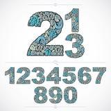 Números floridos del estilo de la ecología, numeración azul del vector hecha usando Foto de archivo