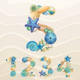 Números, fuente de la vida de mar del vector en fondo de la arena. stock de ilustración