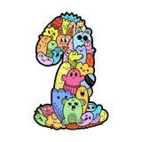 Números garabateados dibujados mano de los niños Números monstred lindos, símbolos de la matemáticas stock de ilustración