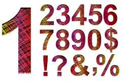 Números gráficos de la fuente de la mano colorida Fotografía de archivo