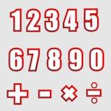 Números gráficos del alfabeto del Libro Blanco con la sombra Imágenes de archivo libres de regalías