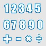 Números gráficos del alfabeto del Libro Blanco en azul Imagen de archivo libre de regalías