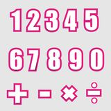 Números gráficos del alfabeto del Libro Blanco en rosa Imágenes de archivo libres de regalías