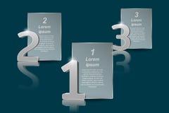 Números grandes da prata 3D e painéis transparentes para o texto Fotografia de Stock
