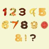 Números hechos de diversa comida en diseño plano Imagen de archivo libre de regalías