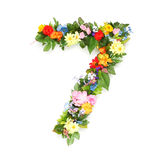 Números hechos de hojas y de flores Imágenes de archivo libres de regalías