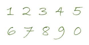 Números hechos de las hojas del árbol aisladas en el fondo blanco Foto de archivo