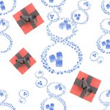 8 números hechos de los descensos e hielo del agua, cajas de regalo y oro del molde aislados en el fondo blanco El día de la muje libre illustration