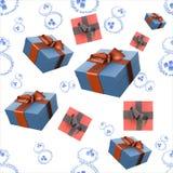 8 números hechos de los descensos e hielo del agua, cajas de regalo y oro del molde aislados en el fondo blanco El día de la muje ilustración del vector